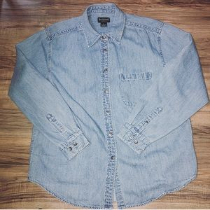 Cotton button up denim shirt detailed buttons